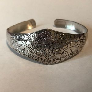 Jewelry - Lotus Sterling 925 Cuff Bracelet Fair Trade Nepal